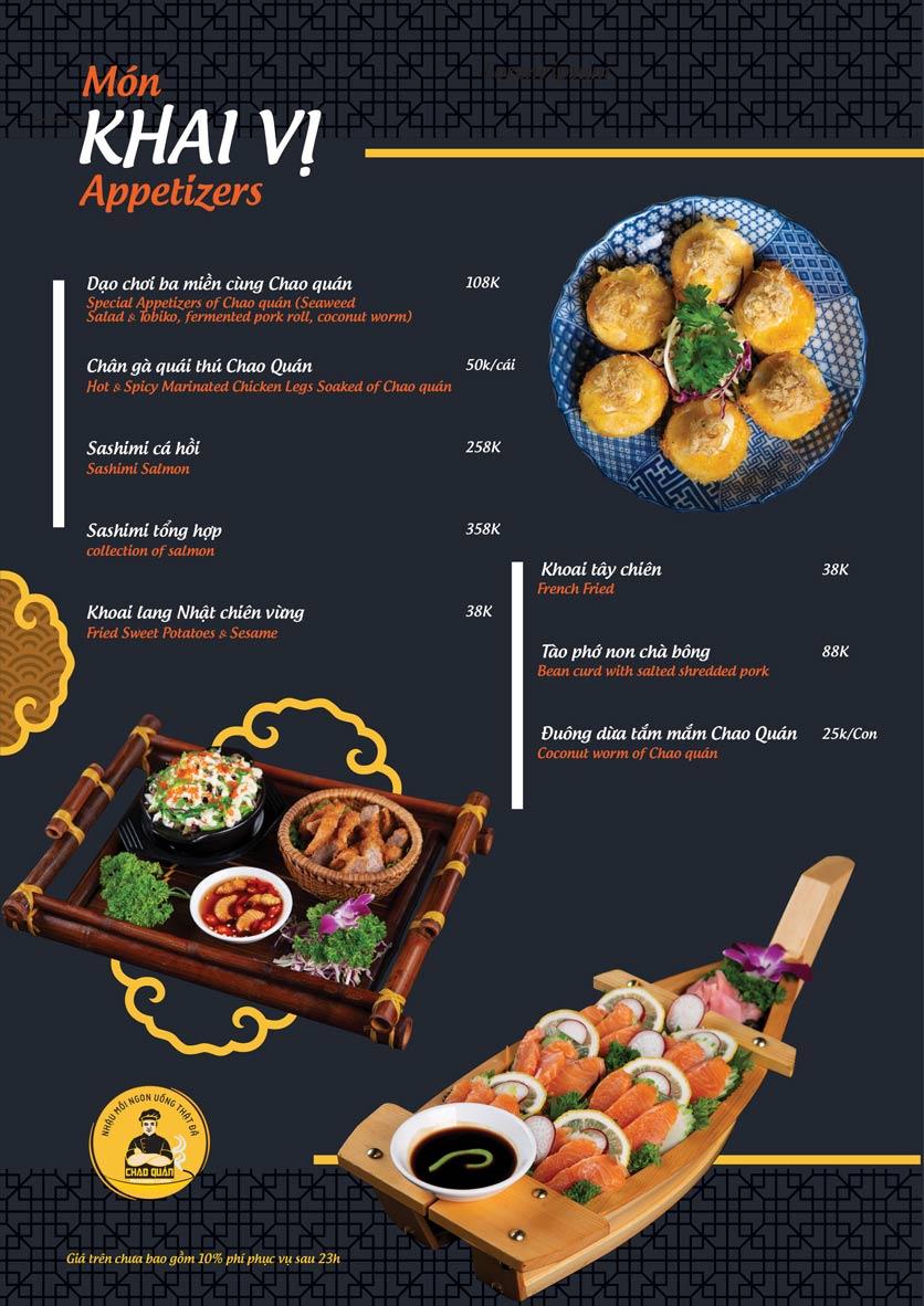 Menu Chao Quán - Hà Đông 2
