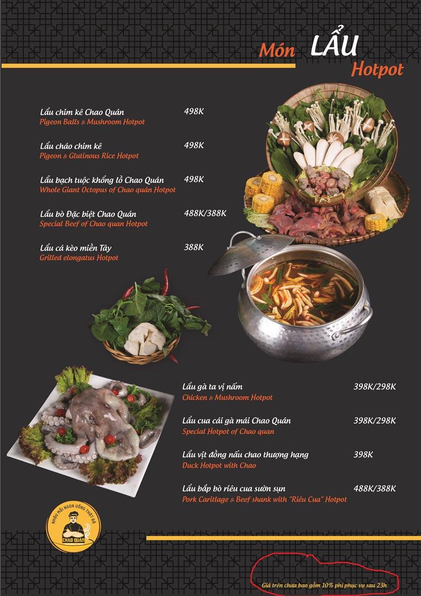 Menu Chao Quán - Hà Đông 7