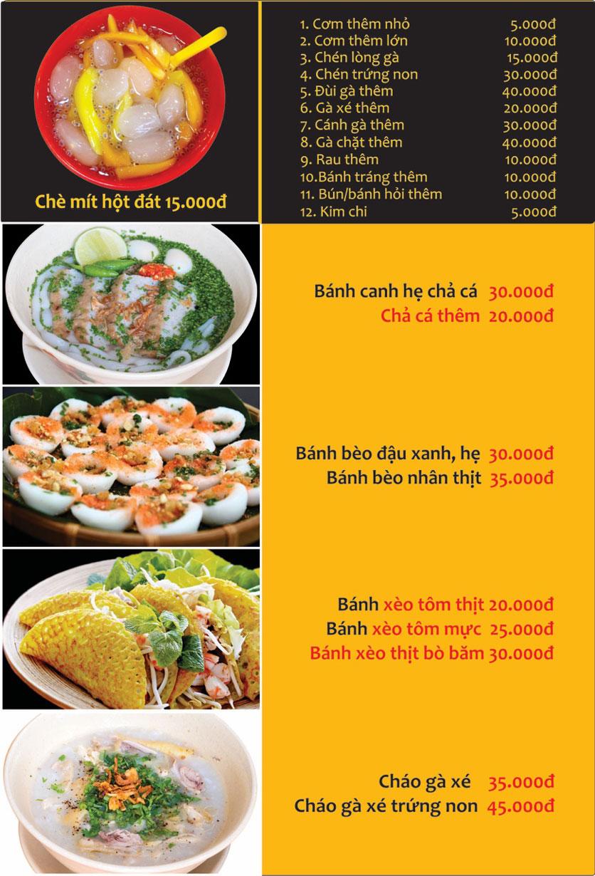 Menu Con Gà Mái - Quang Trung 14