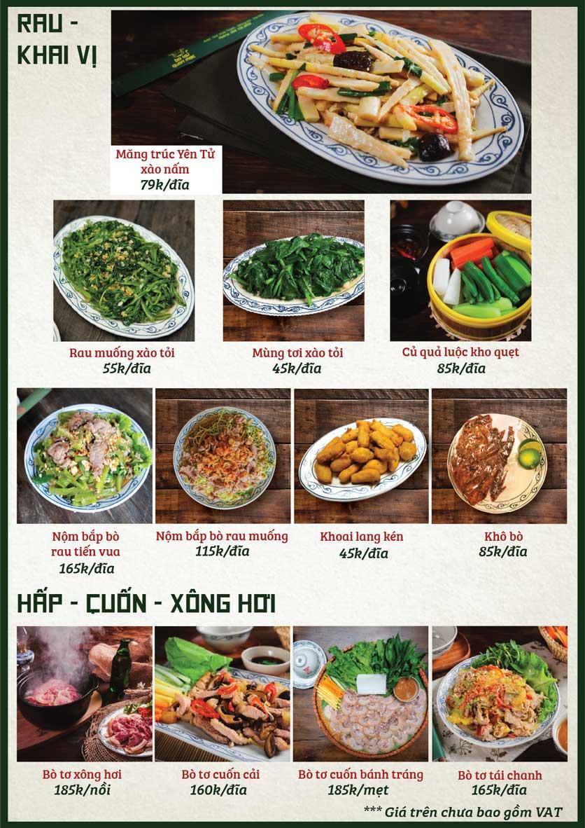 Menu Bò Tơ Quán Mộc - Nguyễn Phong Sắc 1