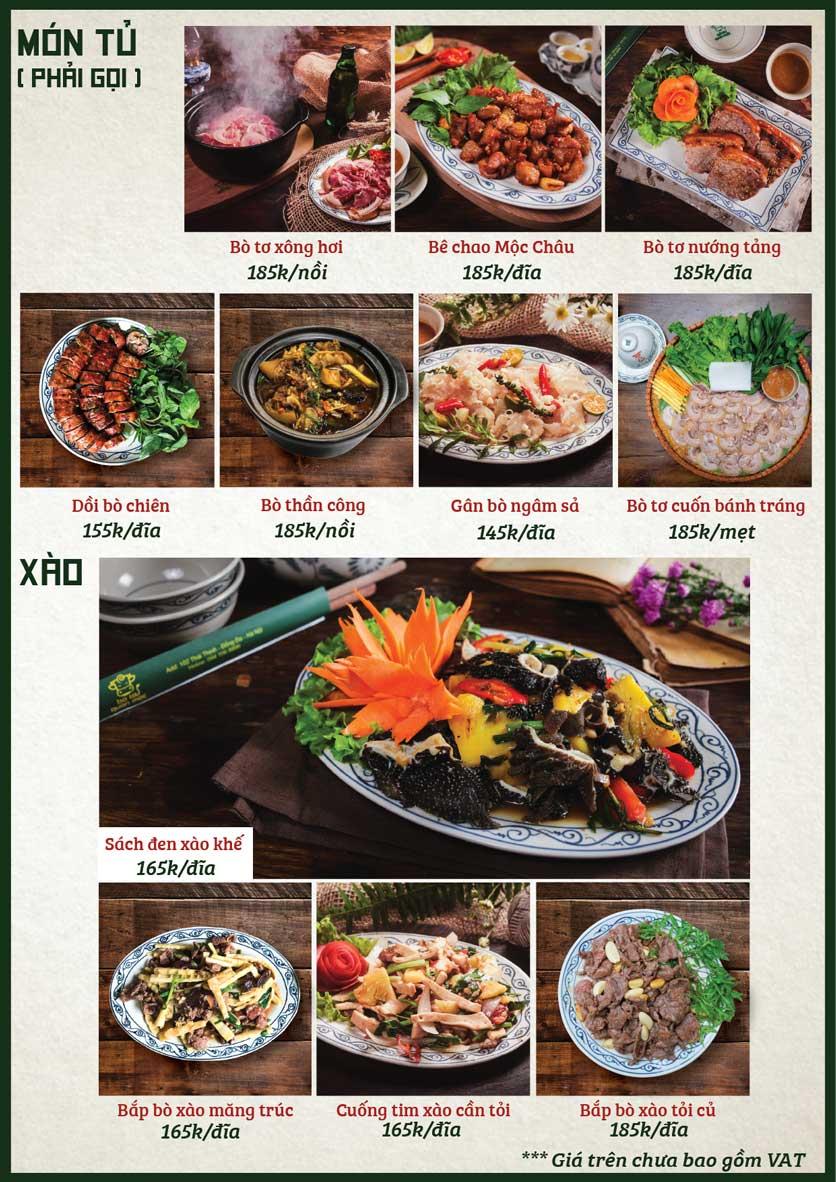Menu Bò Tơ Quán Mộc - Nguyễn Phong Sắc 2
