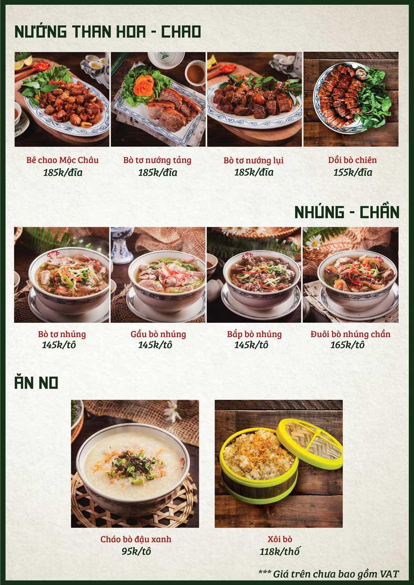 Menu Bò Tơ Quán Mộc - Nguyễn Phong Sắc 3