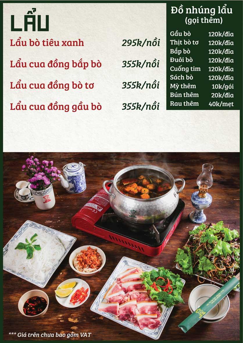 Menu Bò Tơ Quán Mộc - Nguyễn Phong Sắc 5