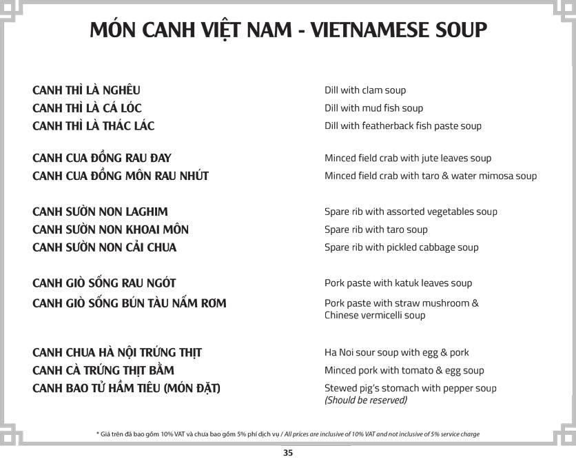 Menu Cơm Niêu Sài Gòn – Tú Xương  40