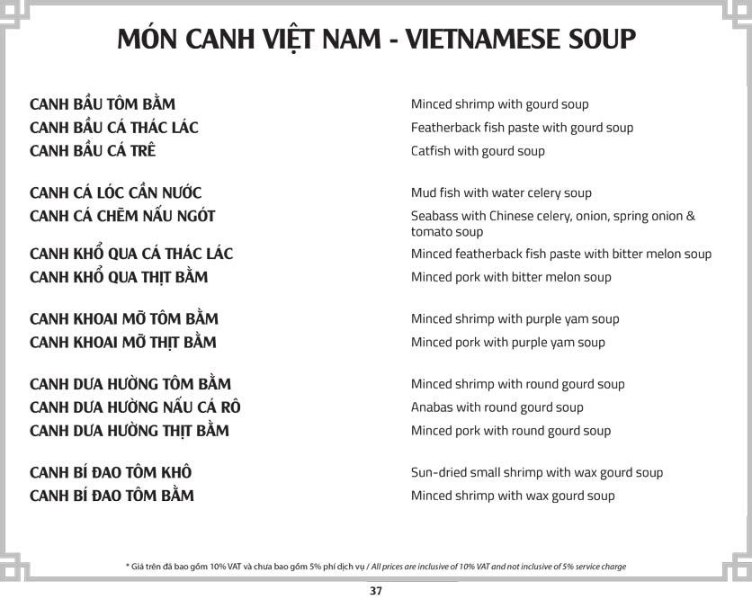 Menu Cơm Niêu Sài Gòn – Tú Xương  42