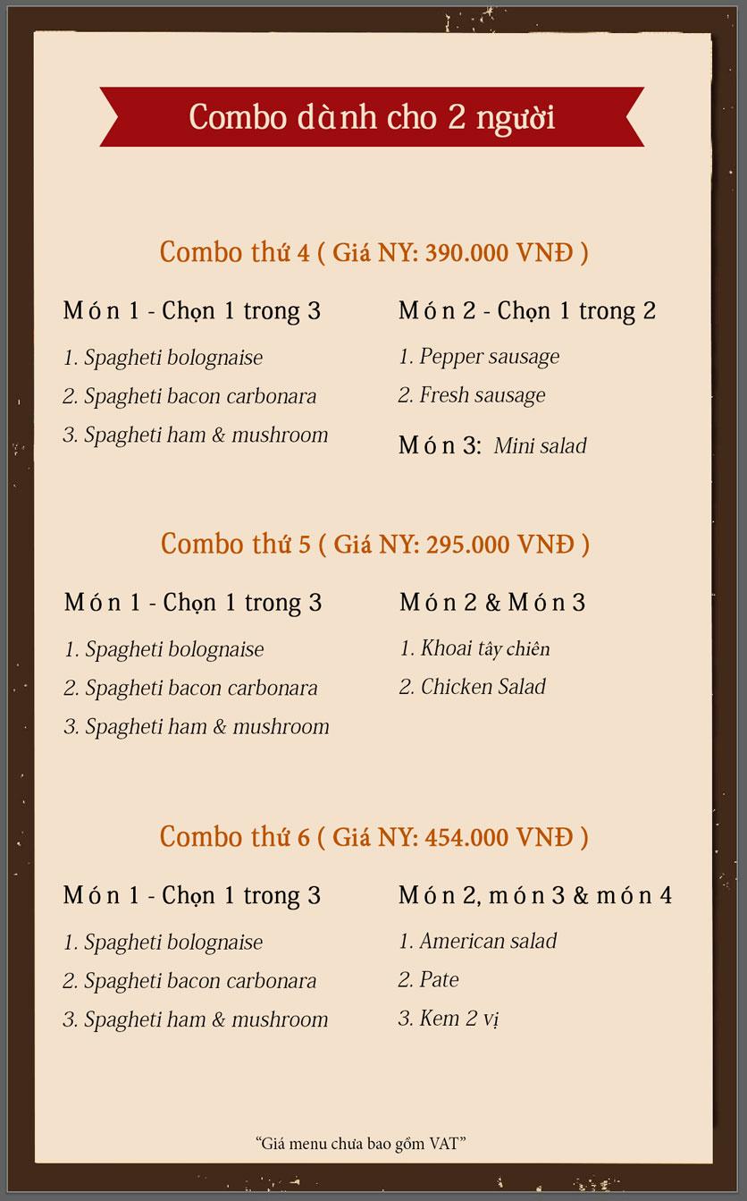 Menu Cowboy Jack's American Dining - Aeon Mall Long Biên 2