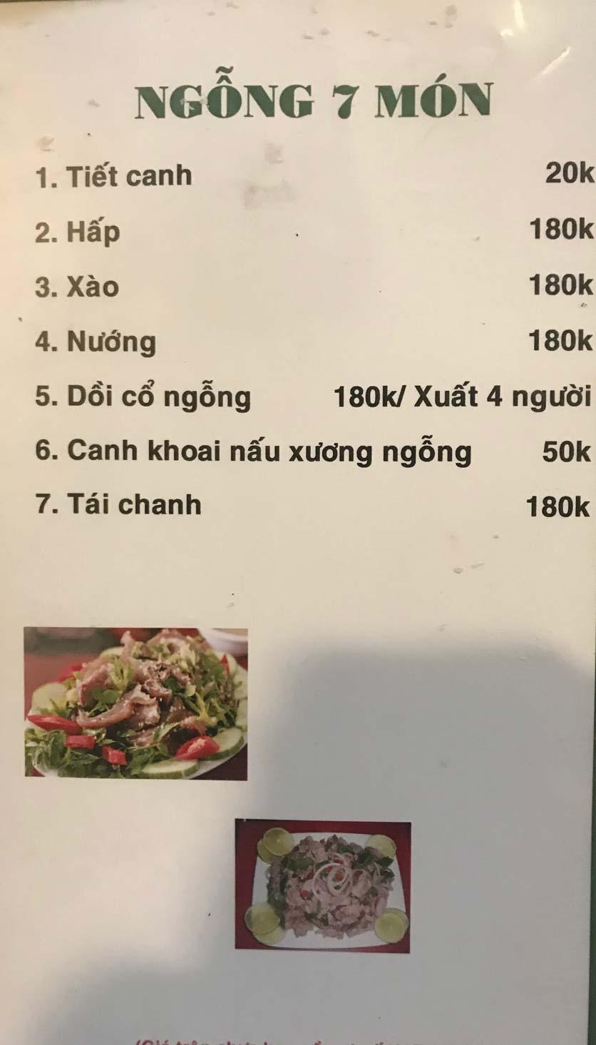 Menu Hoa Sữa - Thanh Liệt 11