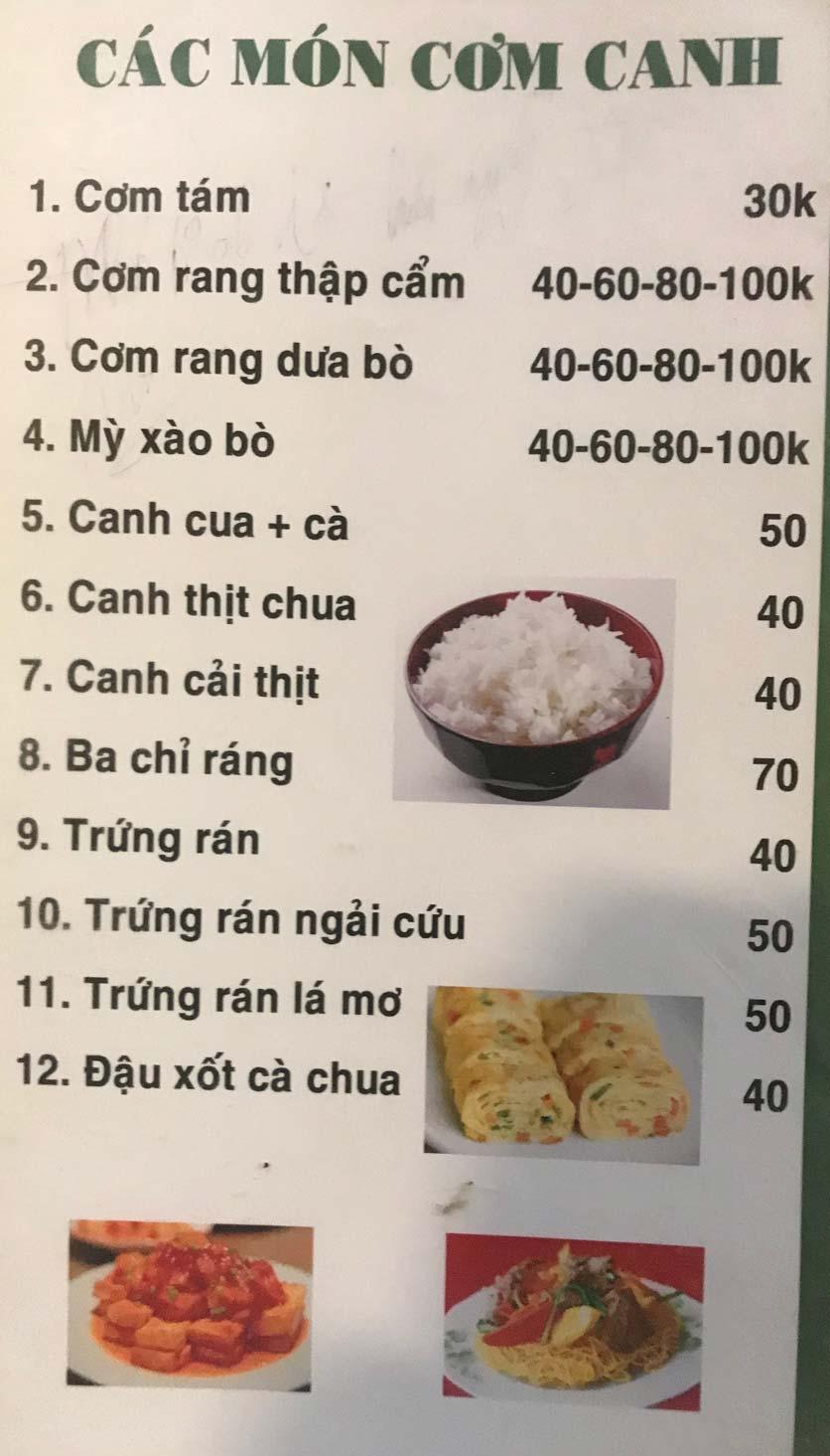 Menu Hoa Sữa - Thanh Liệt 14