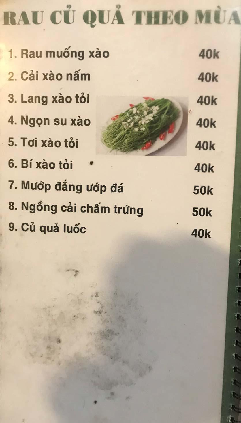 Menu Hoa Sữa - Thanh Liệt 3