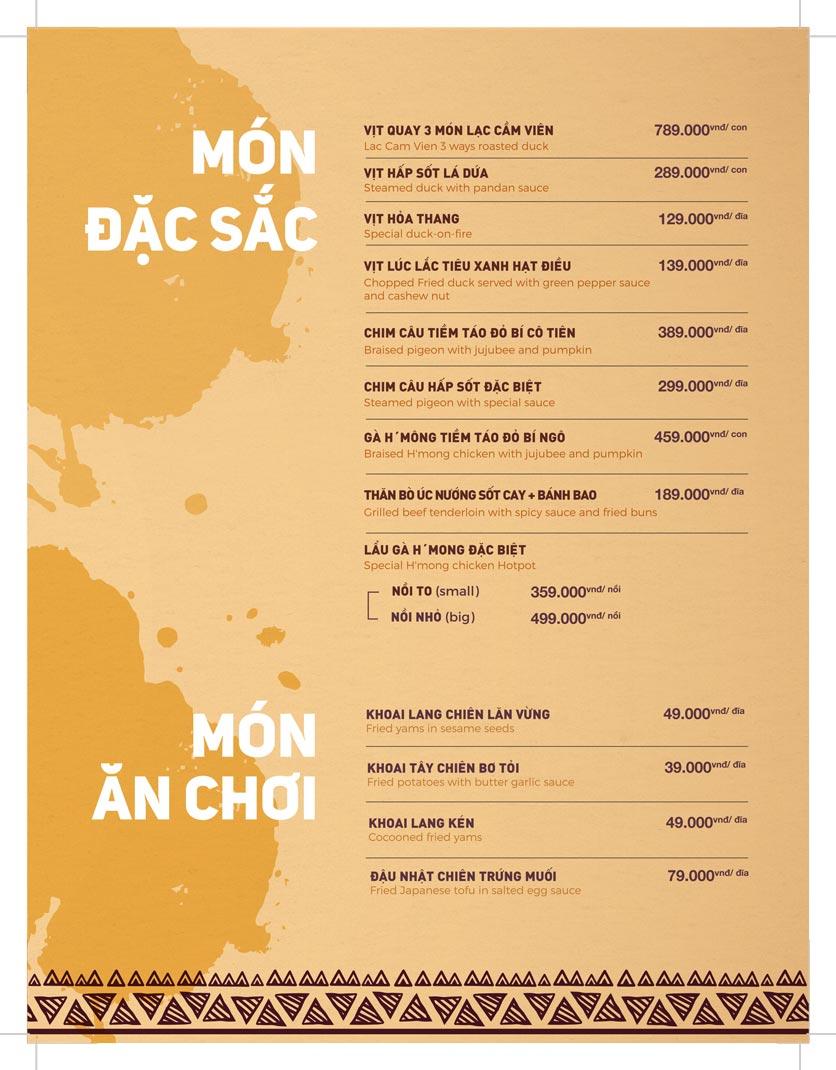 Menu Lạc Cầm Viên - Nguyễn Thị Thập 1