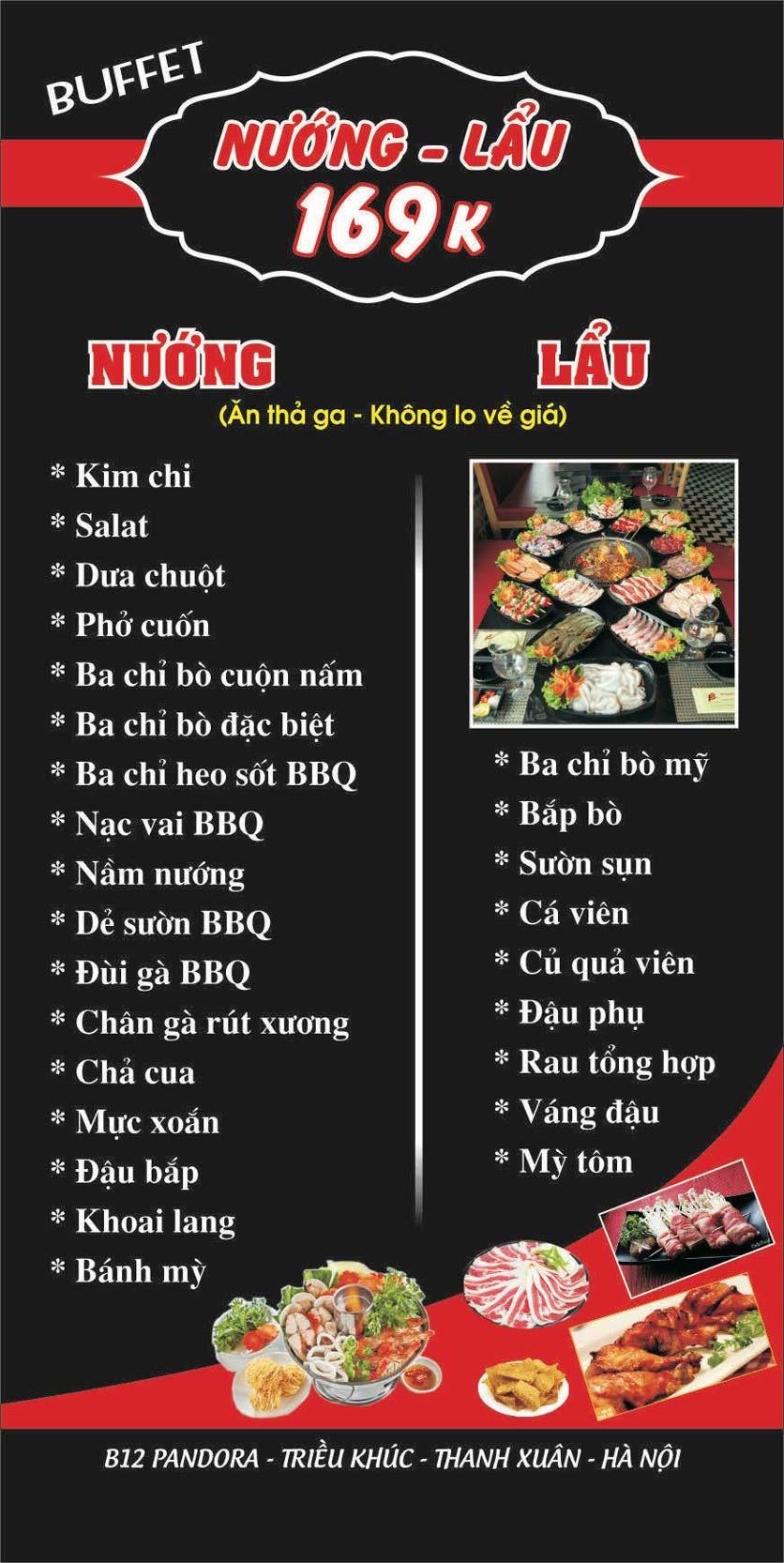Menu Lẩu nướng 2 3 Zô - Triều Khúc 5