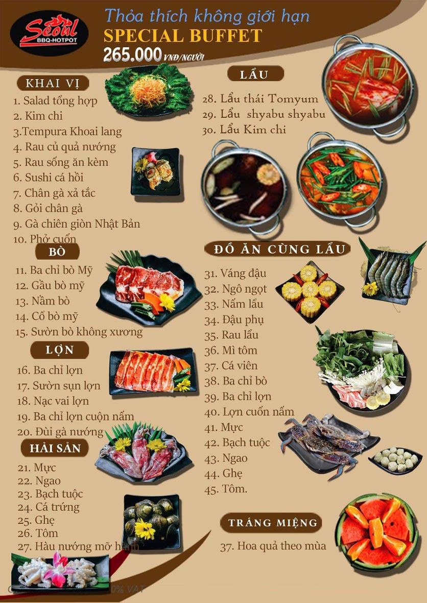 Menu Lẩu Nướng Seoul BBQ - Trần Quốc Hoàn 1