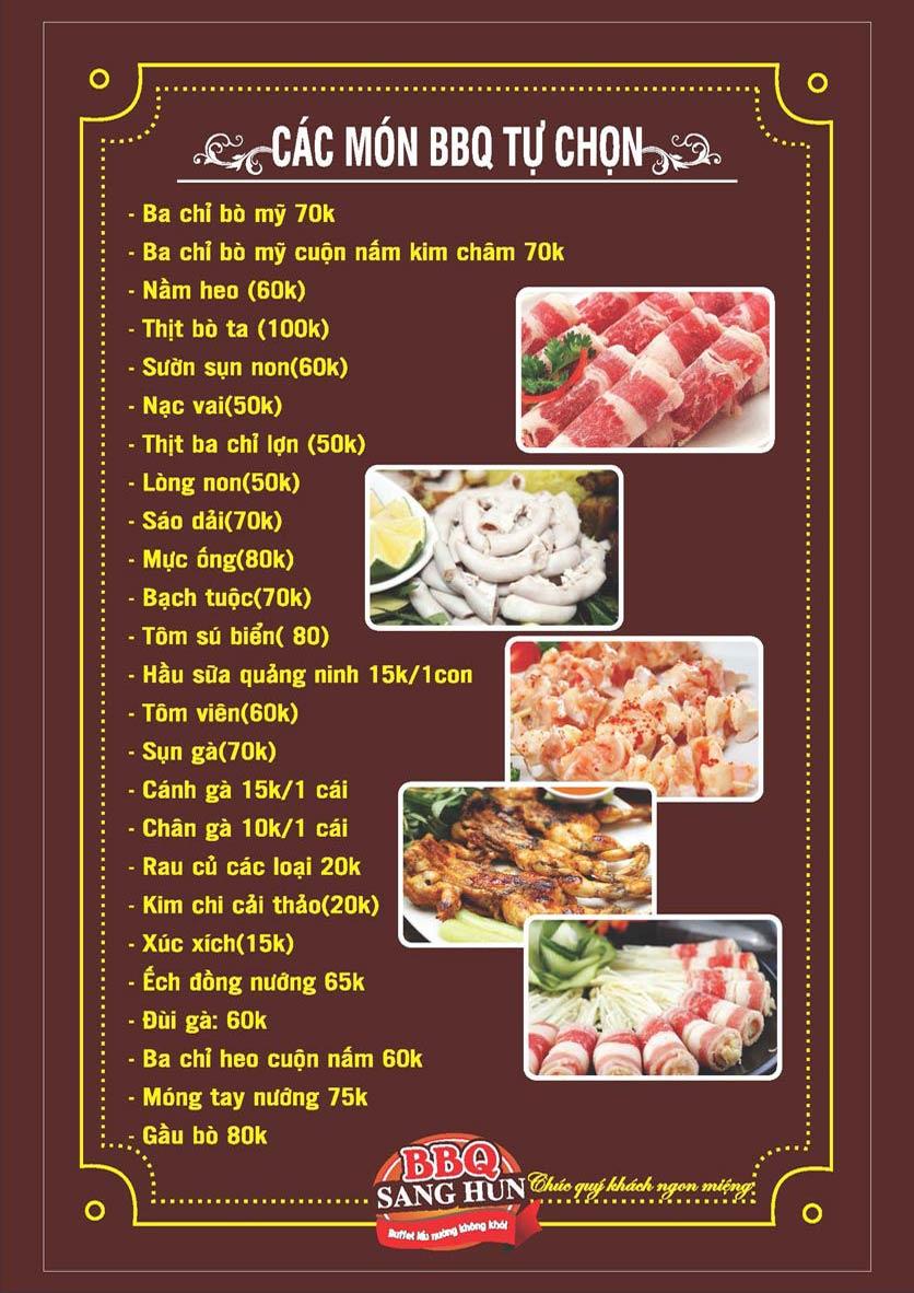 Menu Sang Hun BBQ – Trần Quốc Hoàn  10