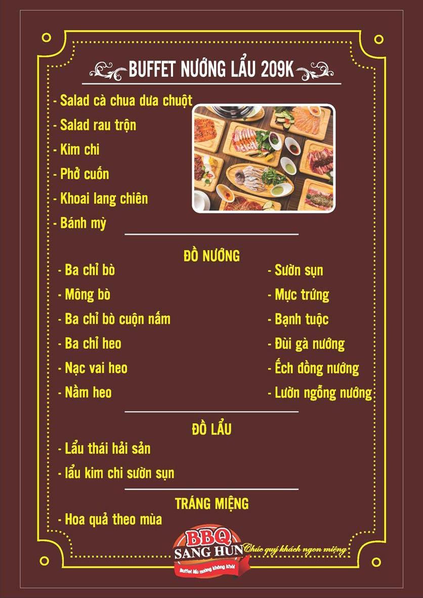 Menu Sang Hun BBQ – Trần Quốc Hoàn  3