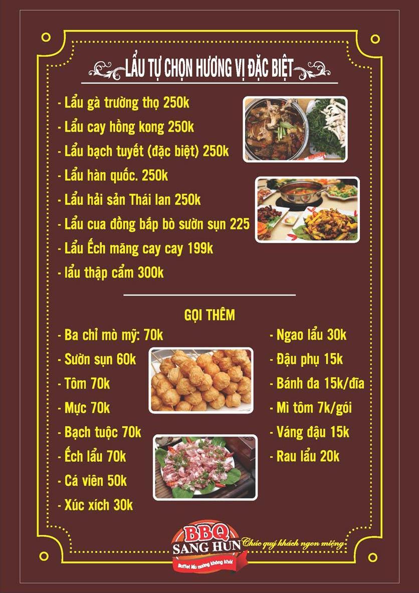 Menu Sang Hun BBQ – Trần Quốc Hoàn  7