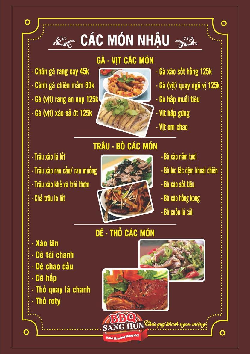 Menu Sang Hun BBQ – Trần Quốc Hoàn  8