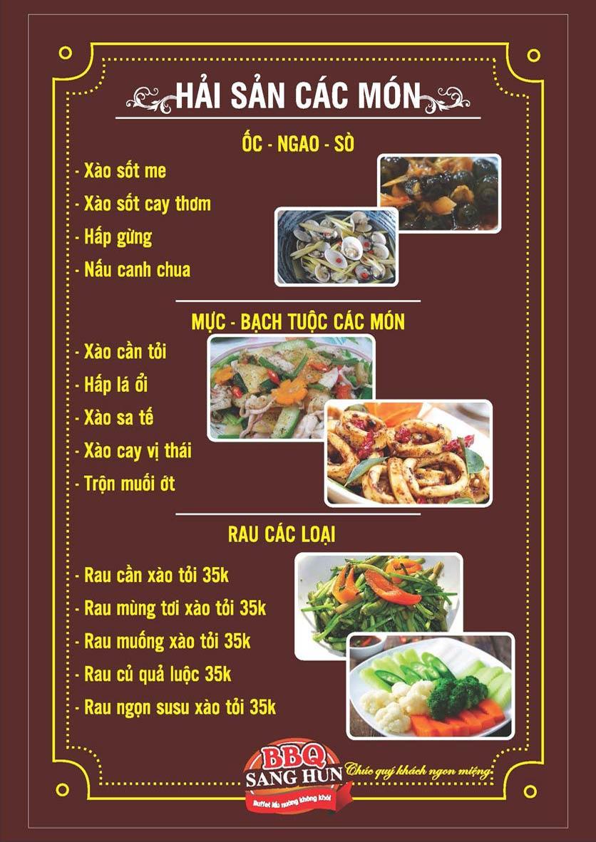 Menu Sang Hun BBQ – Trần Quốc Hoàn  9