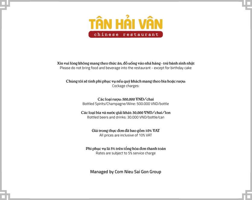 Menu Tân Hải Vân – Phan Văn Trị 1