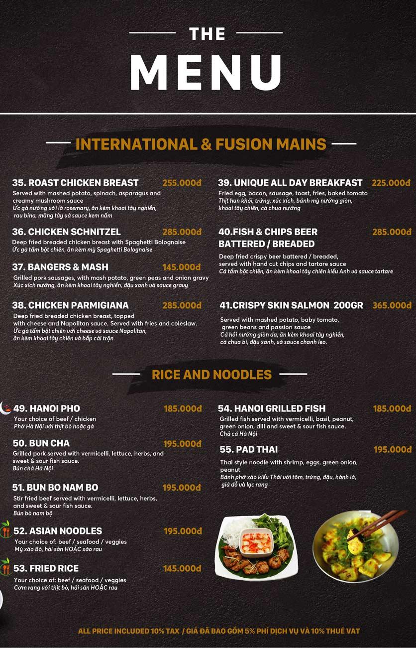 Menu Unique Dining Hanoi - 27 Hàng Bông 6