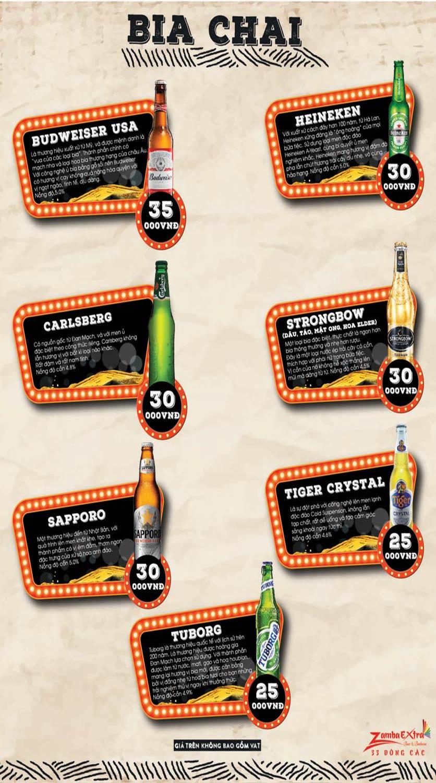 Menu Zamba Extra BBQ & Beer - Đông Các 8