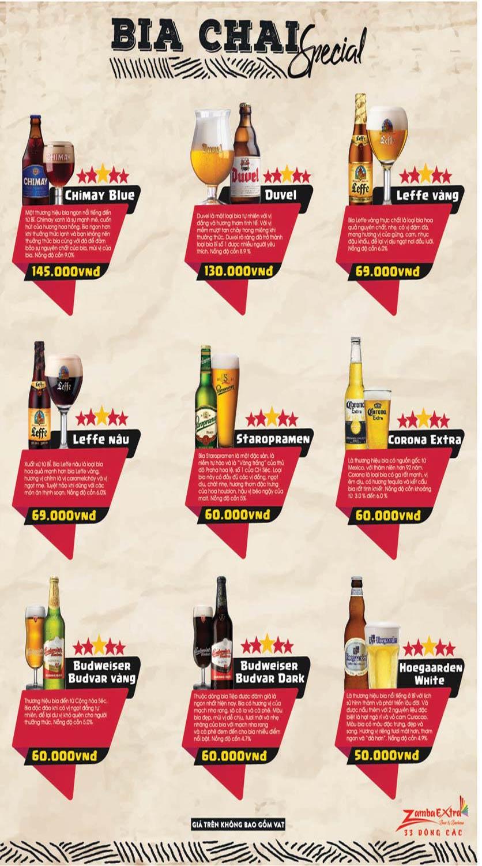 Menu Zamba Extra BBQ & Beer - Đông Các 9