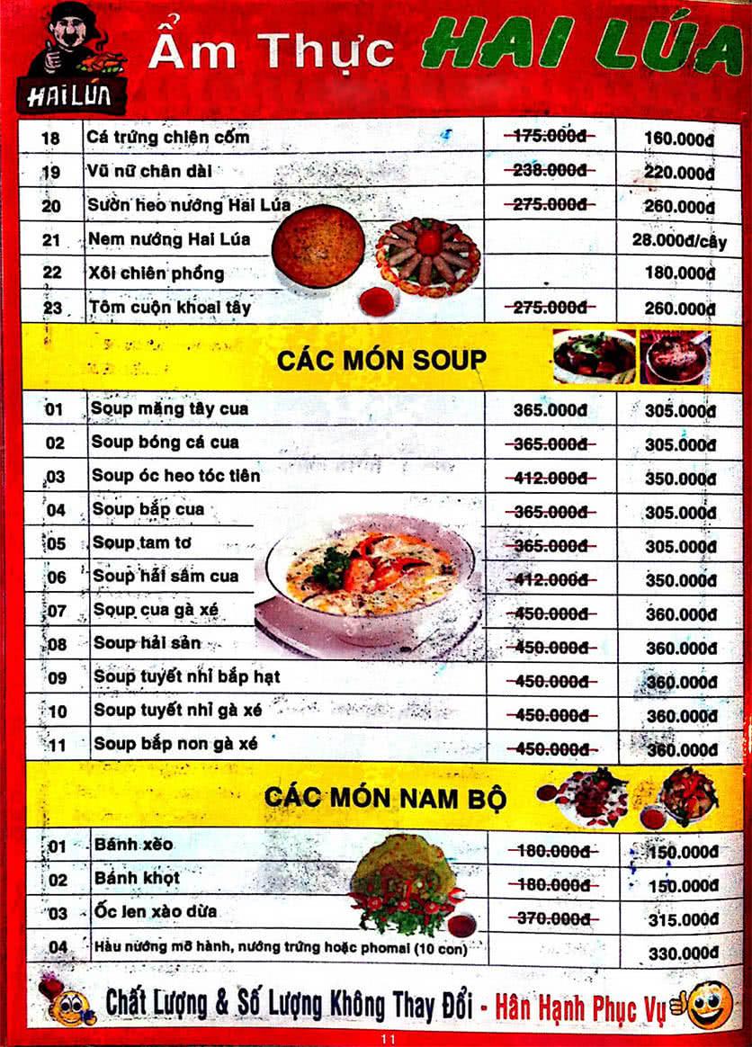 Menu Hai Lúa - Nguyễn Trãi 12