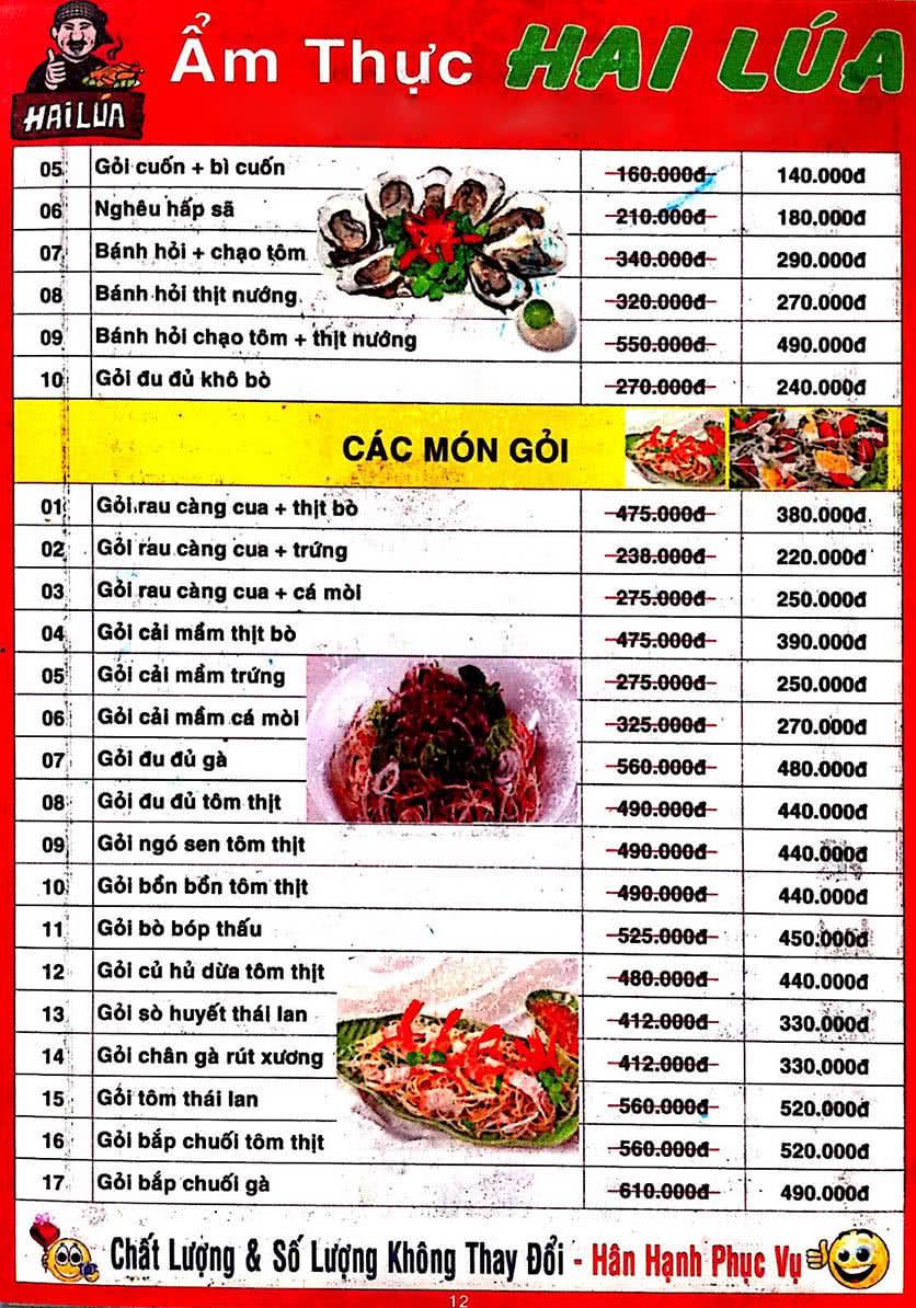 Menu Hai Lúa - Nguyễn Trãi 13
