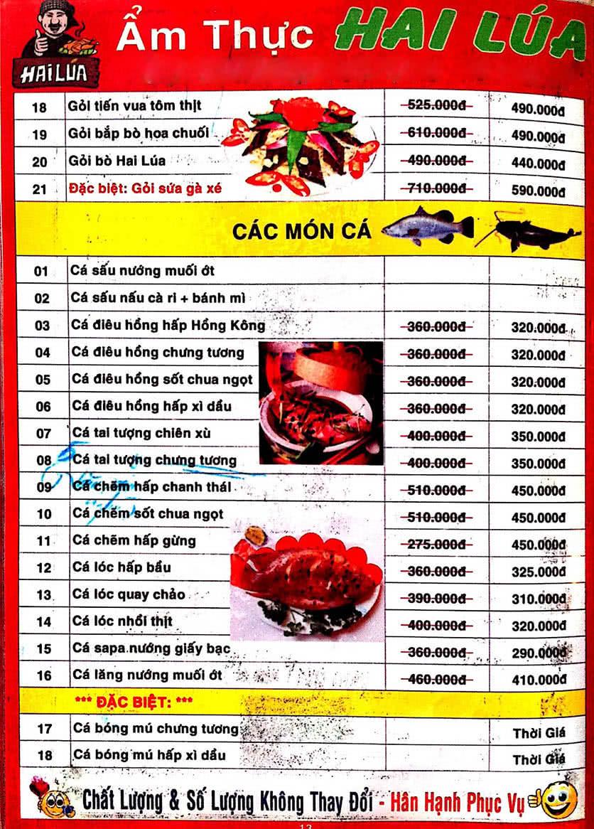 Menu Hai Lúa - Nguyễn Trãi 14