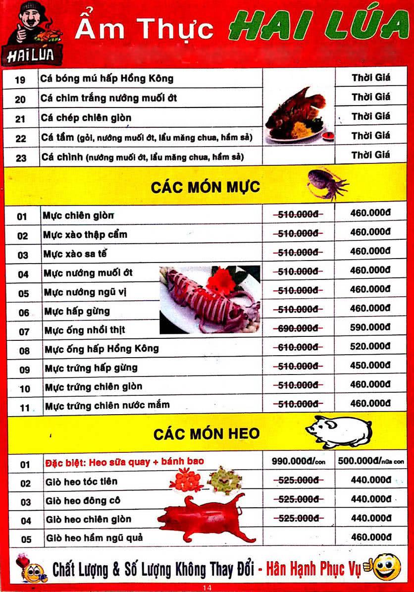 Menu Hai Lúa - Nguyễn Trãi 15