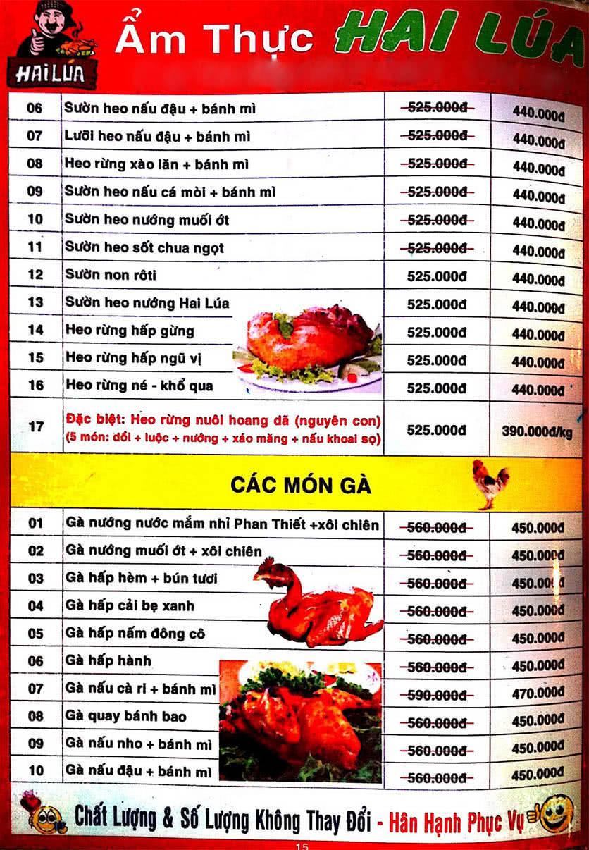 Menu Hai Lúa - Nguyễn Trãi 16