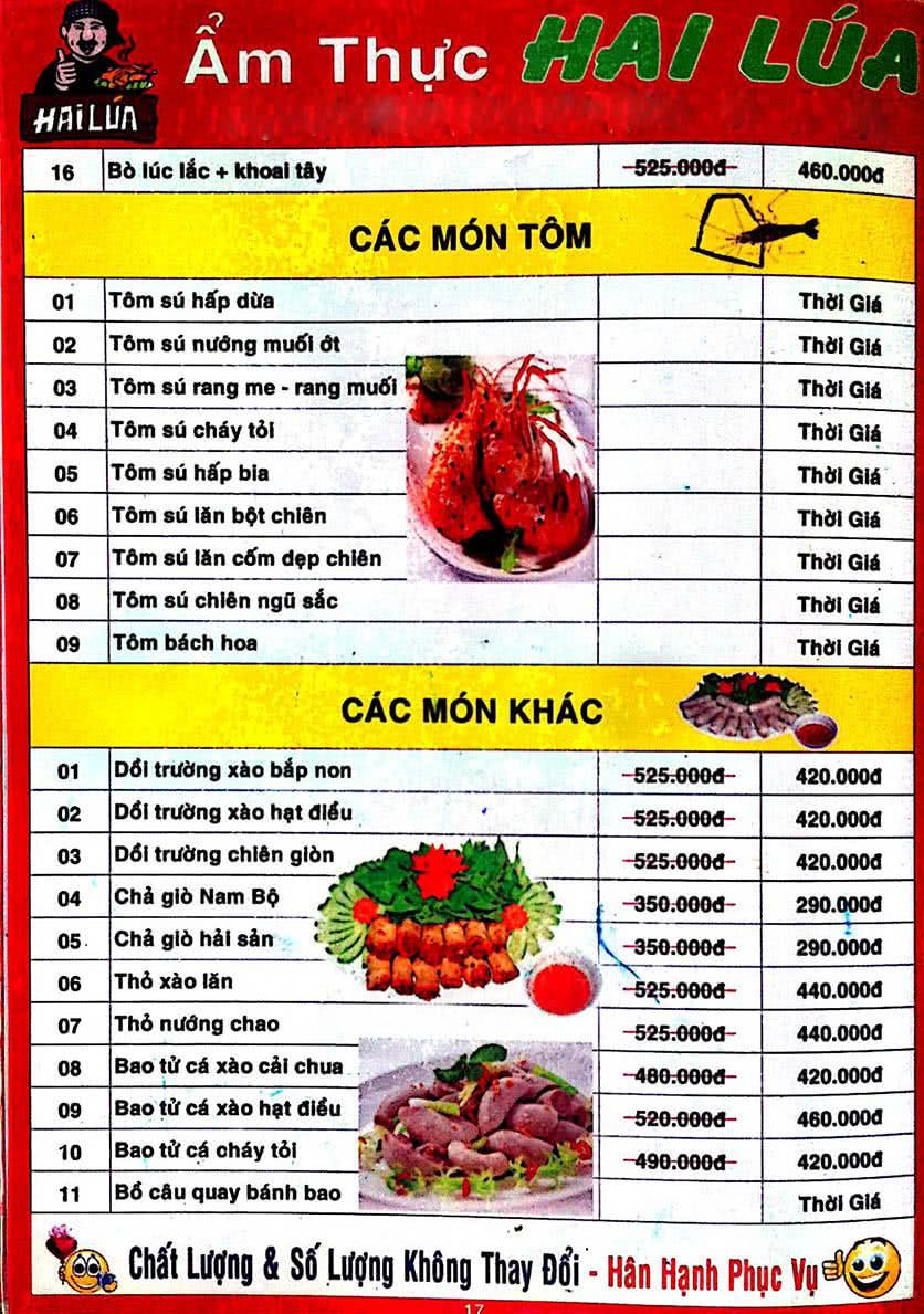 Menu Hai Lúa - Nguyễn Trãi 18