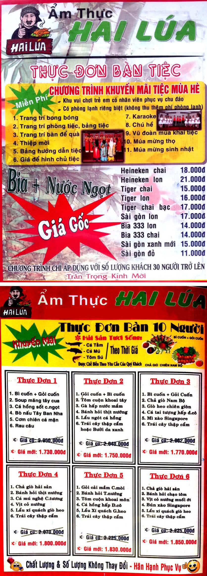 Menu Hai Lúa - Nguyễn Trãi 1