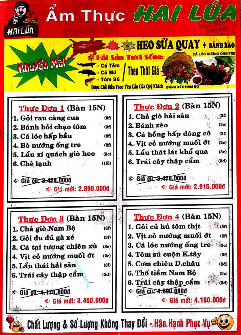 Menu Hai Lúa - Nguyễn Trãi 9