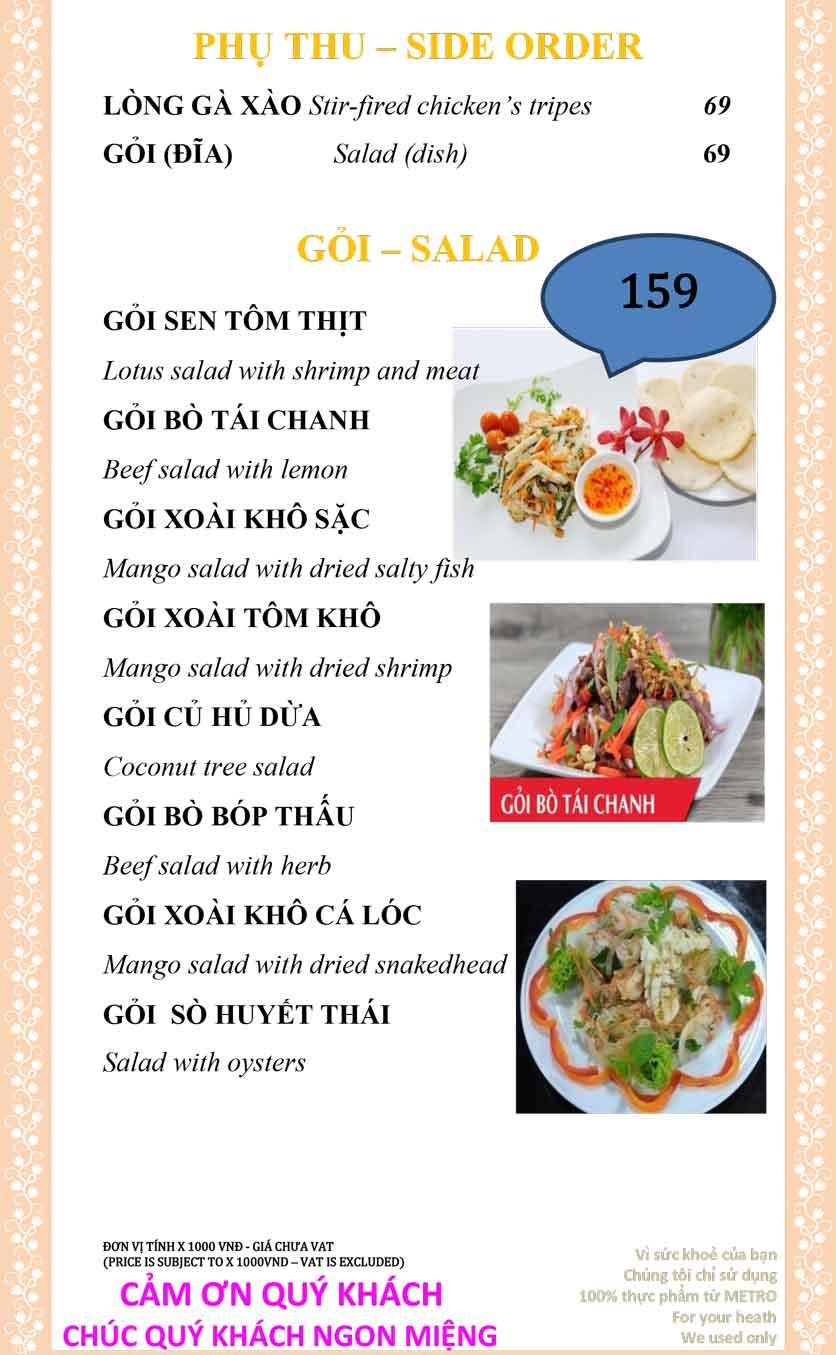 Menu Sài Gòn Xưa và Nay - Nguyễn Trung Trực 12