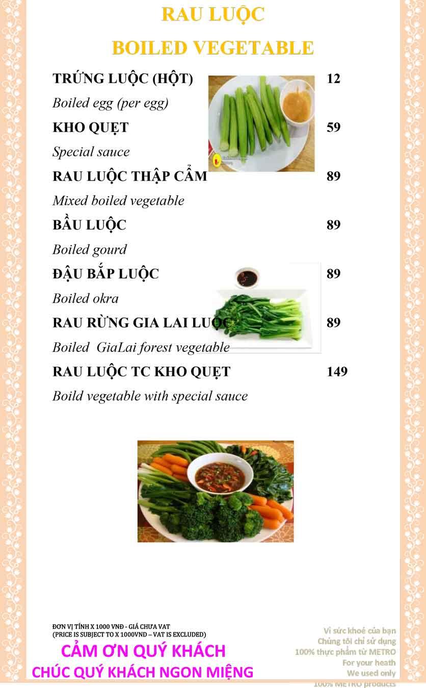 Menu Sài Gòn Xưa và Nay - Nguyễn Trung Trực 14