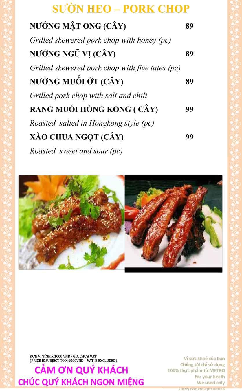 Menu Sài Gòn Xưa và Nay - Nguyễn Trung Trực 19