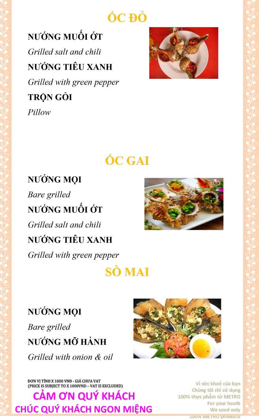 Menu Sài Gòn Xưa và Nay - Nguyễn Trung Trực 32