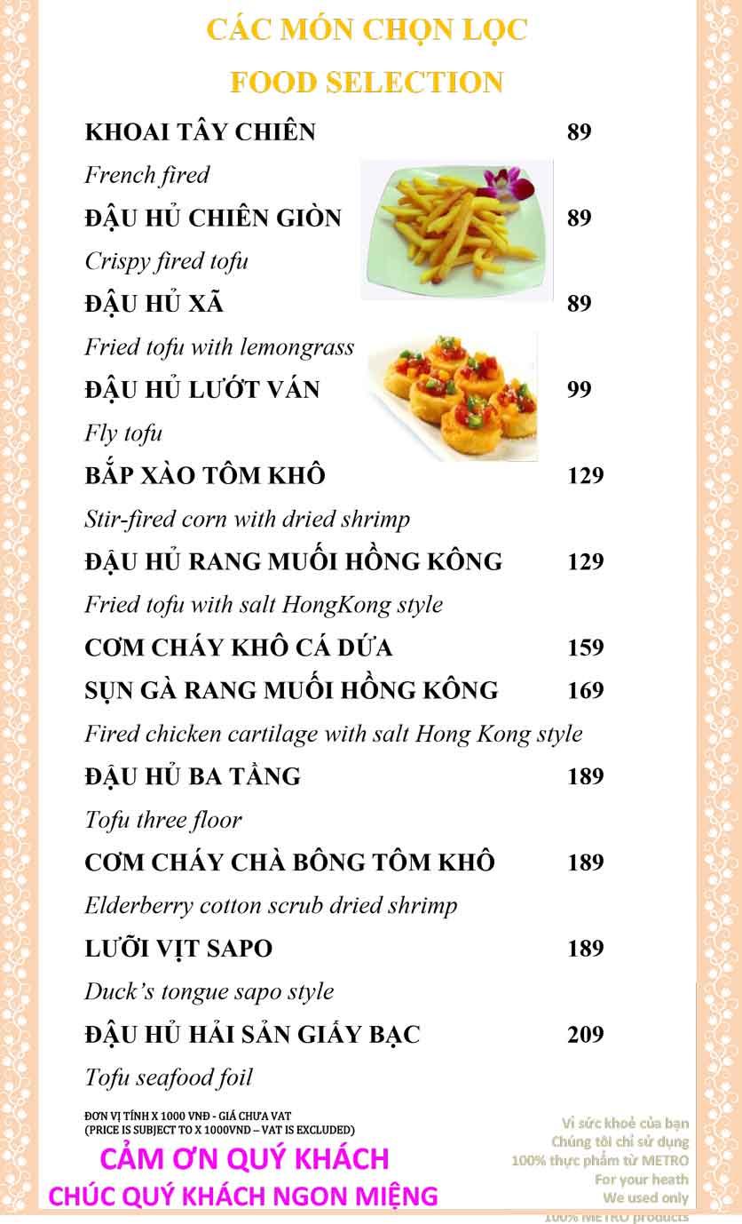 Menu Sài Gòn Xưa và Nay - Nguyễn Trung Trực 6