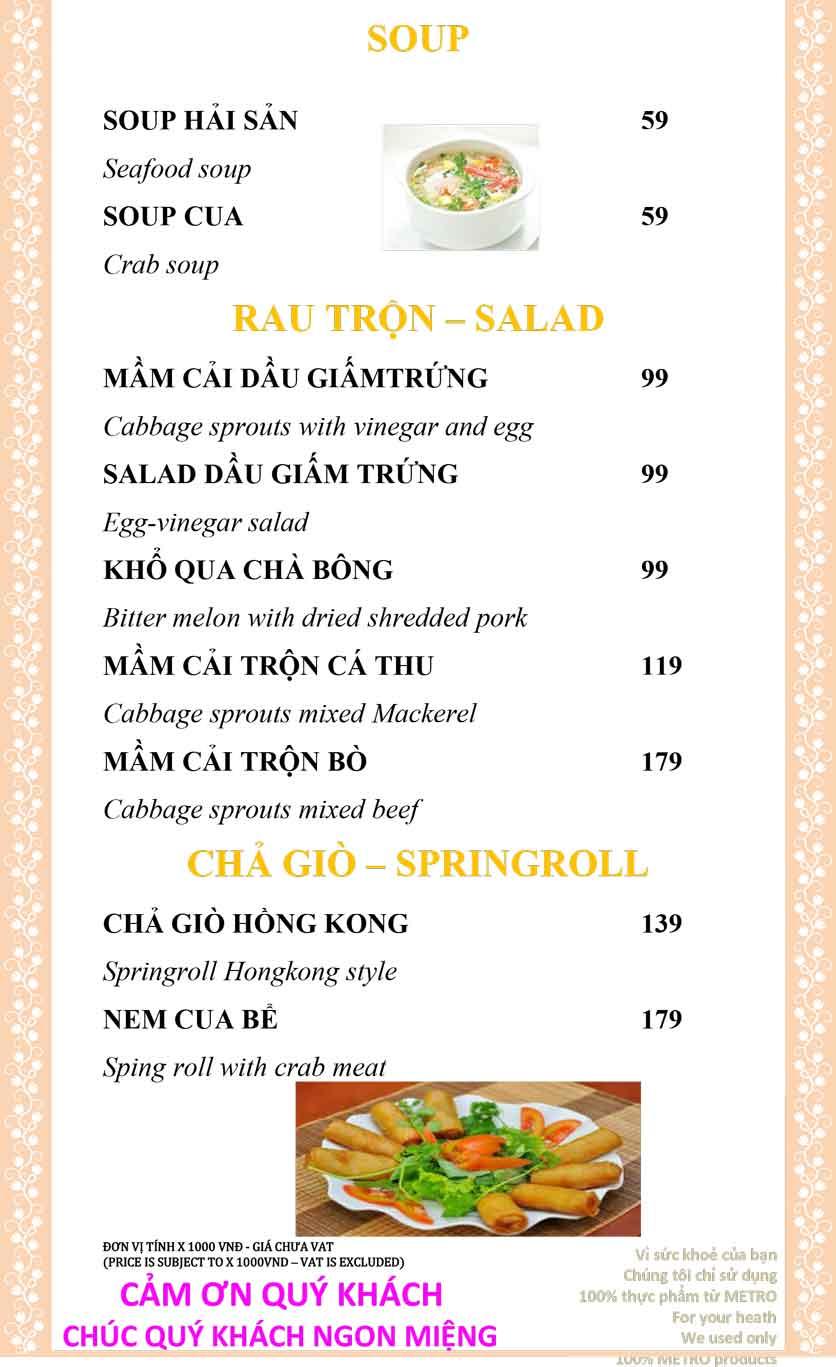 Menu Sài Gòn Xưa và Nay - Nguyễn Trung Trực 9