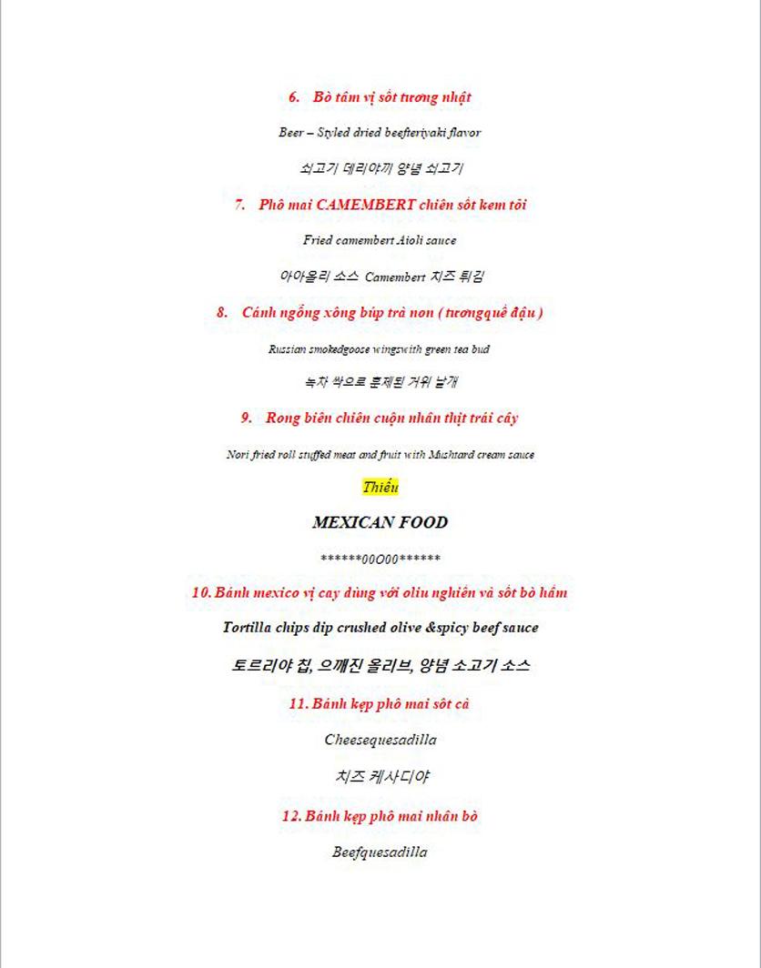 Menu Anchor Wine Boutique & Gastro Pub - Lê Văn Thiêm  2