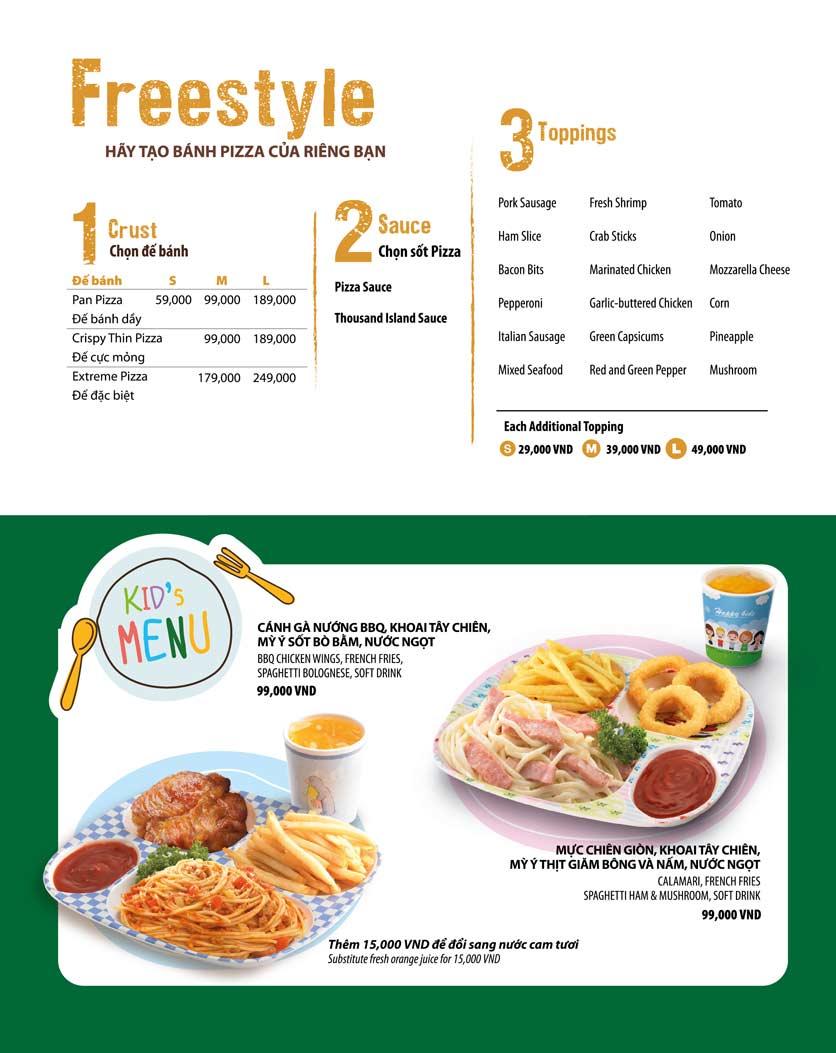 Menu The Pizza Company - Phạm Văn Đồng 25