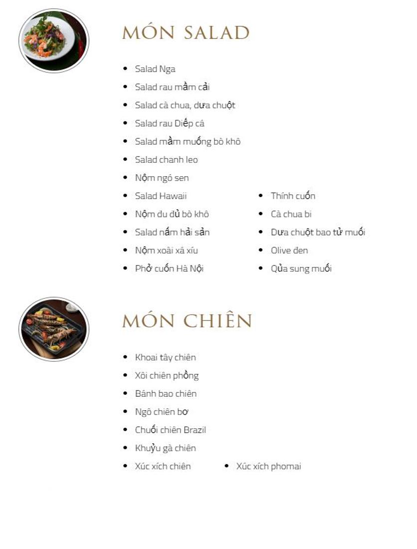 Menu Bay Seafood Buffet Hồ Gươm - Tông Đản 2
