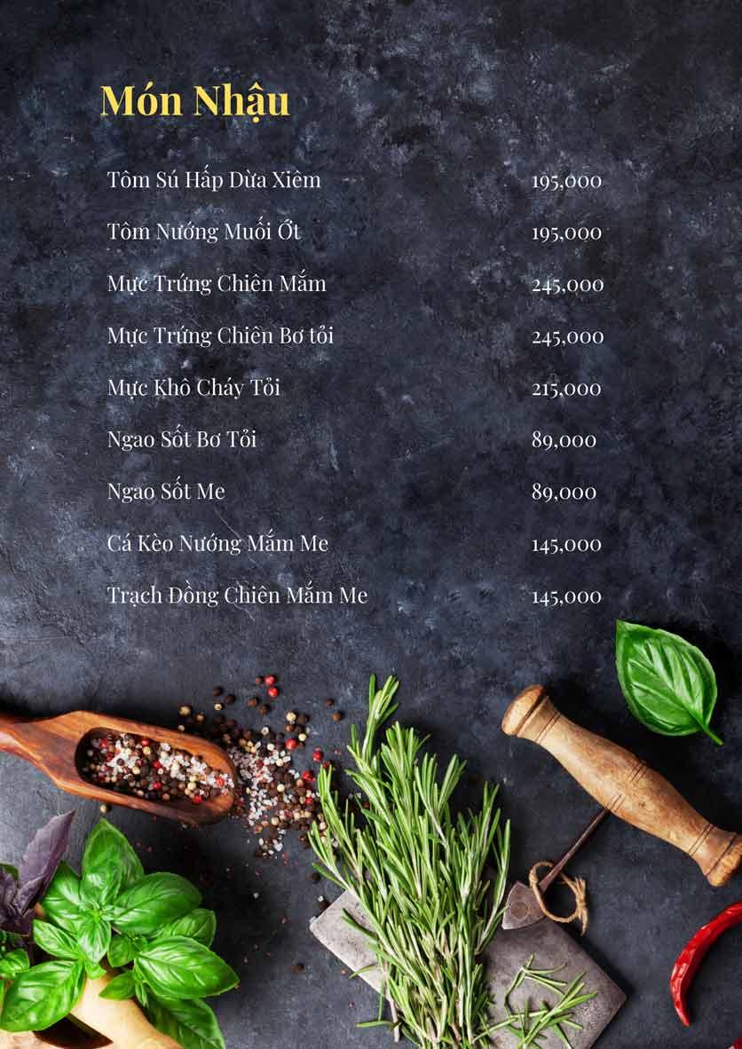 Menu Bếp Xuka - Đội Cấn 9