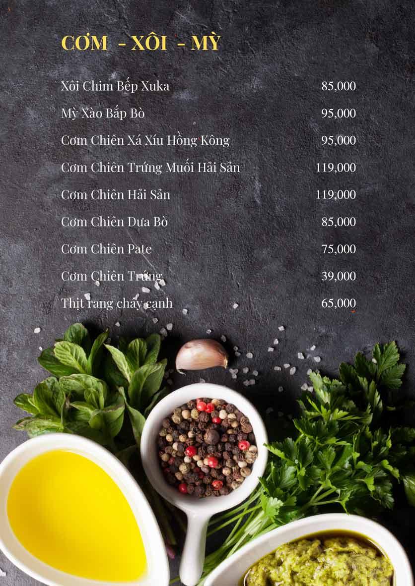 Menu Bếp Xuka - Đội Cấn 10