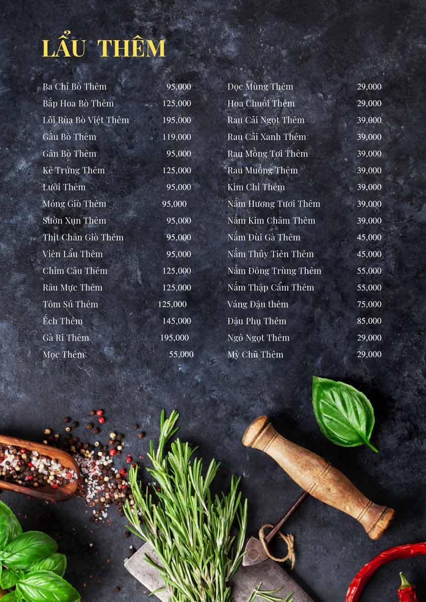 Menu Bếp Xuka - Đội Cấn 12