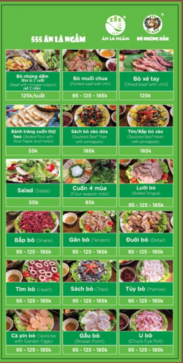 Menu Bò Ngon 555 - Đền Lừ  3