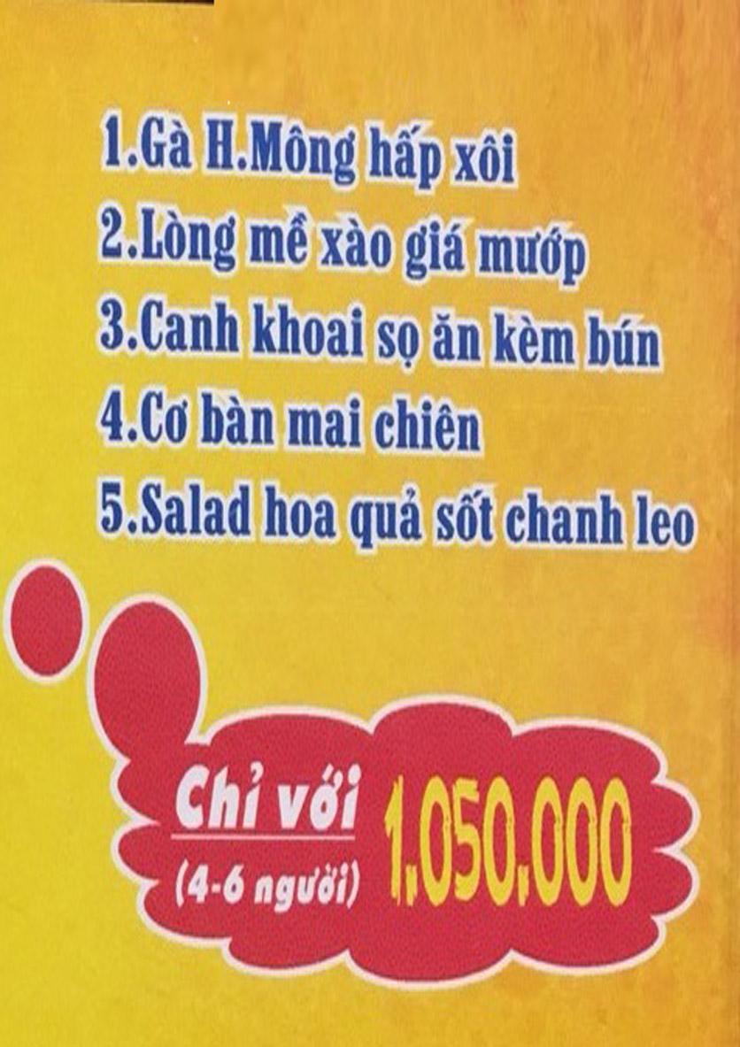 Menu Boong Restaurant – Nguyên Hồng 1