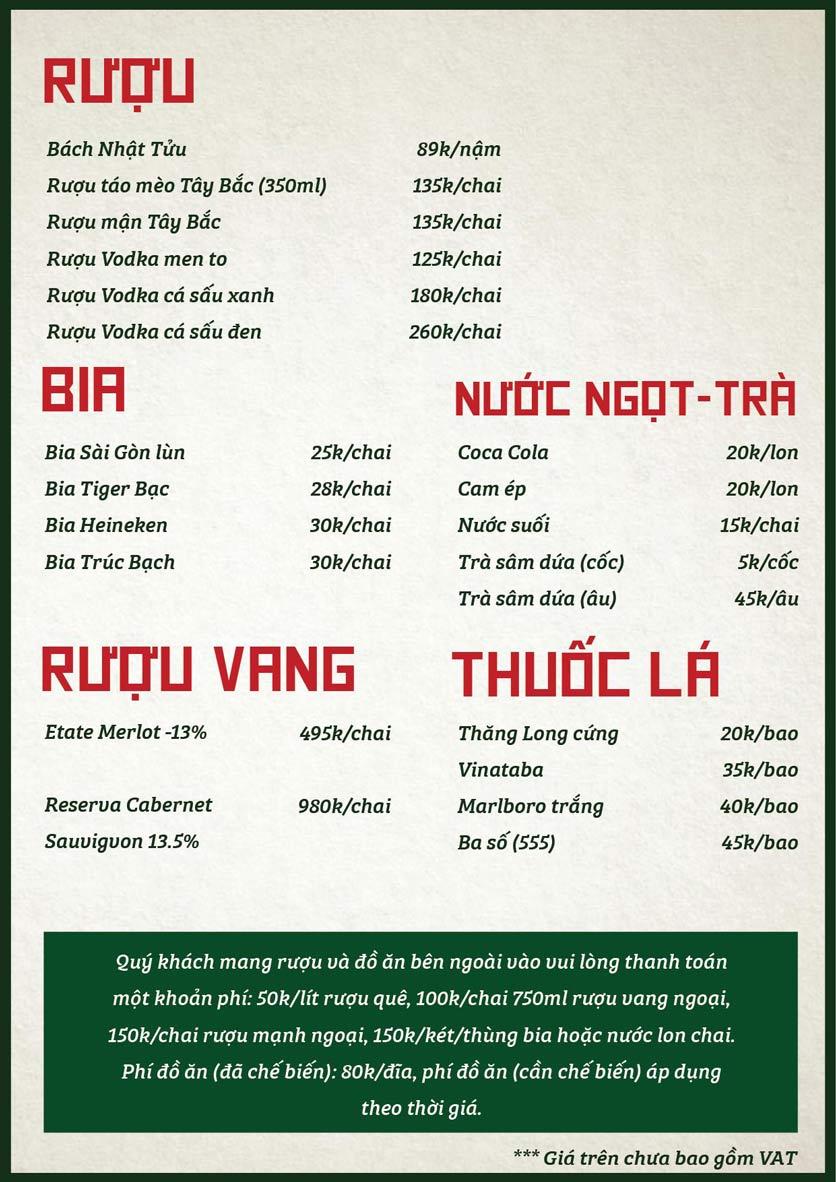 Menu Bò Tơ Quán Mộc - Nguyễn Phong Sắc 6