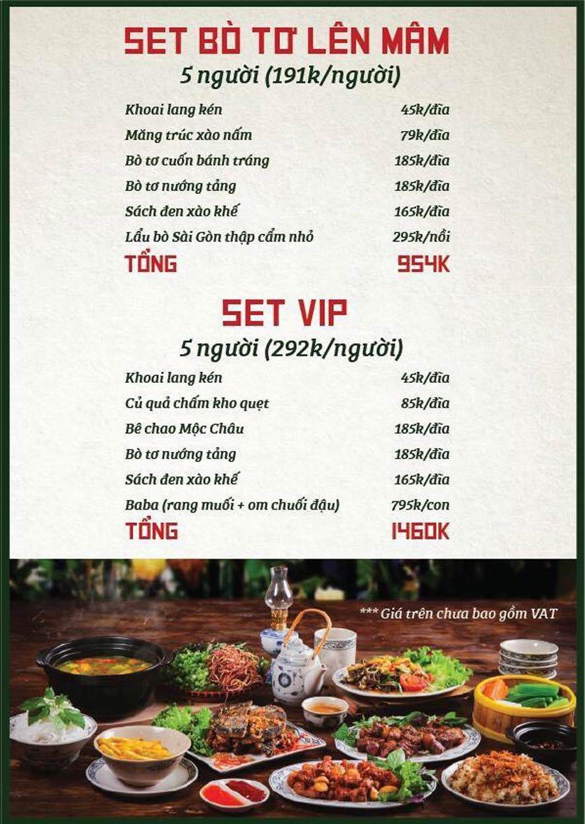 Menu Bò Tơ Quán Mộc - Nguyễn Thị Định 6
