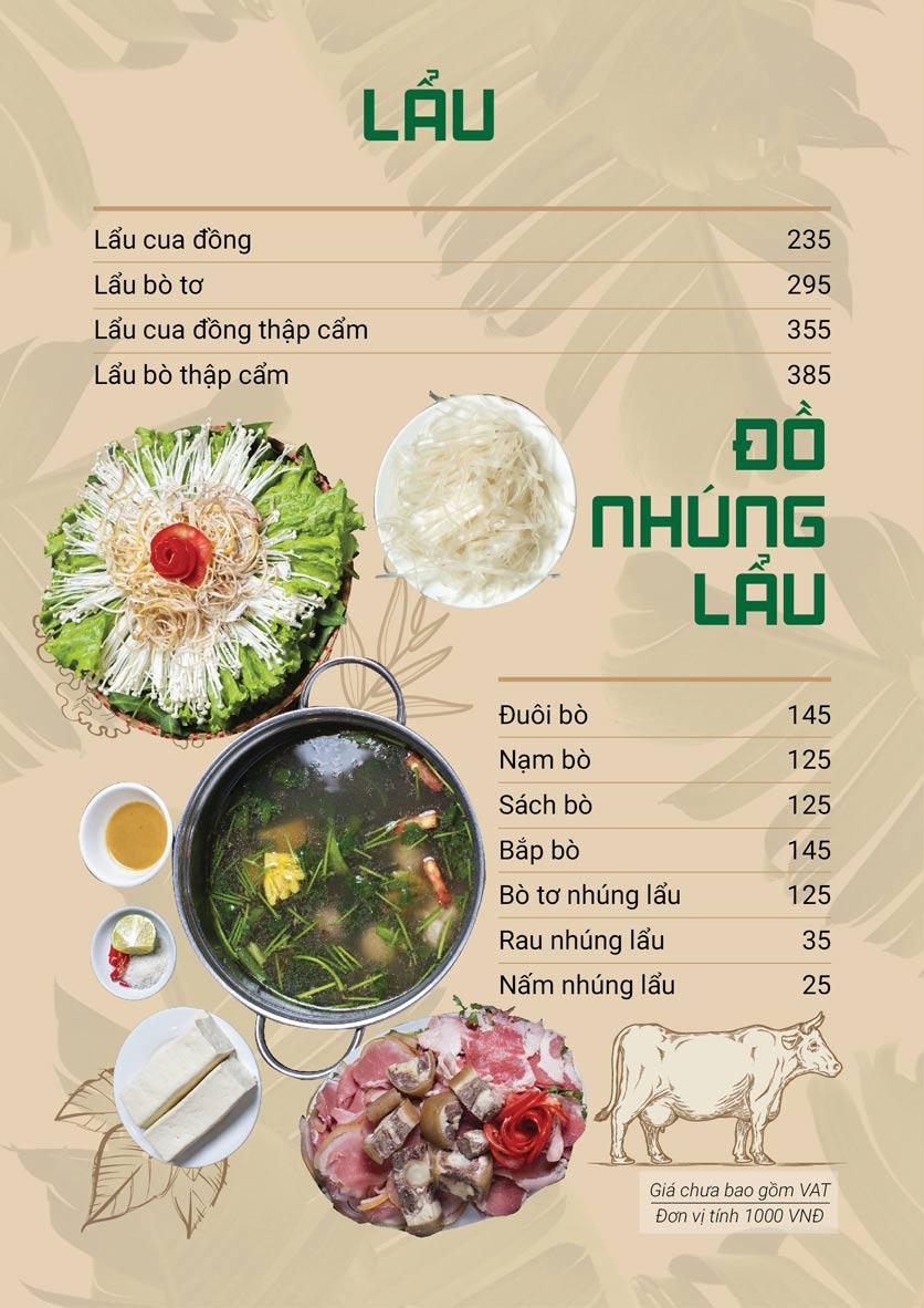 Menu Bò Tơ Quán Mộc - Hoàng Quốc Việt 2